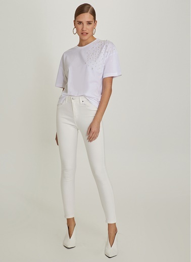NGSTYLE Yüksek Bel Skinny Pantolon Beyaz